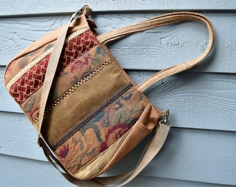 Large Fabric Handbag/3 handle/Trims/rose tapestry warm tan claret/4 season bag/satchel/wide flat base/zipper closure/8 pockets  170347