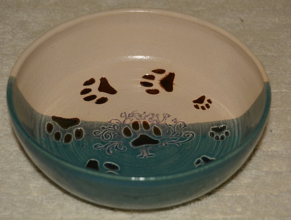 Pet Bowl, Dish, Dog, Cat, Paws, Tree of Life, Peacock Blue, Off White, Stoneware, Food Dish, Water Bowl,