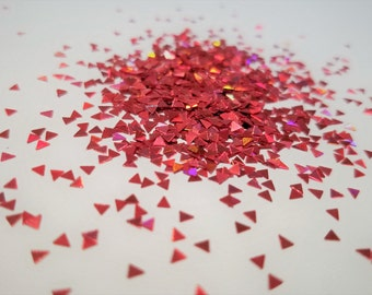 solvent-resistant glitter shapes-red hologram triangles