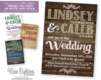 Rustic Wedding INVITATION. Budget friendly printable PDF invitation, customiczed for you and ready to print