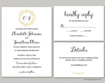 Gold Layered Wreath Monogram Wedding Invitation Set (9914) - INSTANT DOWNLOAD - Ready to Print - Editable PDF