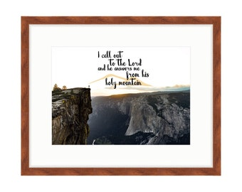 The Lord Answers Me from His Holy Mountain - Bible Verse Art - Psalm 3:4