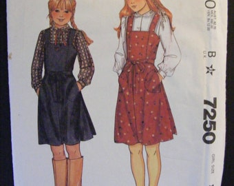 """Girls' Back Wrap Jumper Breast 32"""" Size 14 Uncut McCall's Sewing Pattern 7250"""