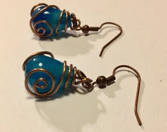 Wire Wrapped Blue Bead Earrings
