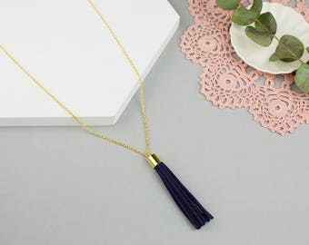 Personalised Tassel Necklace - Long Black Tassel Necklace with Personalised Stamped Charm and Custom Length Chain
