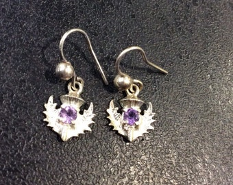 Sterling silver thistle earrings set with amethyst