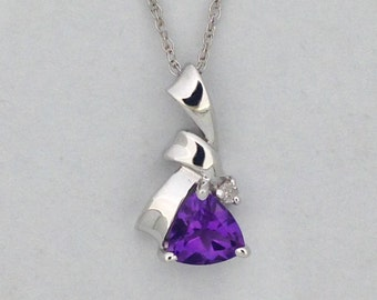 Natural Amethyst with Natural Diamond Pendant Solid 14kt White Gold