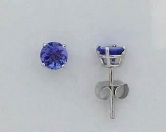 Natural Tanzanite Stud Earrings Solid 14kt White Gold