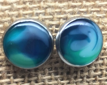 Ocean Blue & Green Stud Earrings | Stainless Steel | Unique Hand Painted