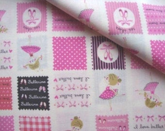 KOKKA Ballerina Patchwork ~ Fabric ~ Pink ~ Ballet ~ Japanese ~ Quilting ~ Sewing ~ Girls ~ Ballet Slippers ~ Polka Dot ~ Gingham ~