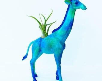 Original Blue and Aqua Giraffe Planter - Upcycled Hand-painted Animal Figurine