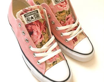 pink rose floral tongue size 9 women's converse all star low top shoes