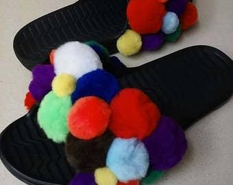 Custom Slide Sandals, Fur Slides, Slide Sandals, Pom Pom Sandals, Custom Slides, Custom Sandals, Pom Pom shoes, Unique Custom Sandals,