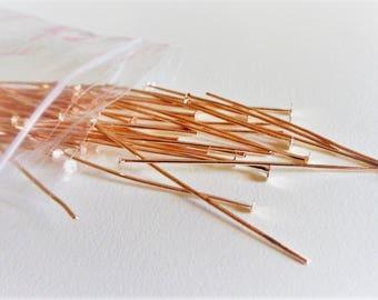 60 - 45mm x 0.7mm Rose Gold Head Pins