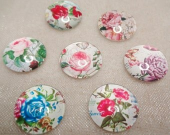10 - 16mm Assorted Floral Glass Cabochons