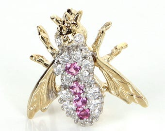 Pink Sapphire Diamond Bumble Bee Brooch Pin Vintage 14 Karat Yellow Gold Estate Bug