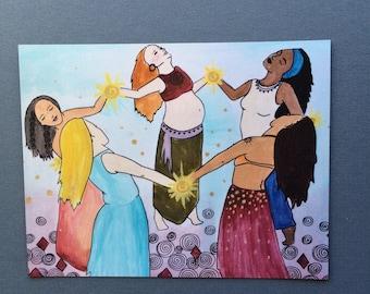 """TRIBE Magnet/ 4"""" x 5""""/ goddess/ friends/ sisterhood/ feminist art"""