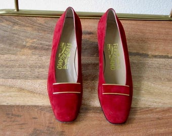 Salvatore Ferragamo Red Suede Pumps