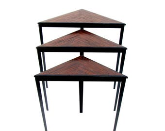 Vtg Triangular Nesting Tables || Urban Geometric Industrial Wrought Iron & Herringbone Wood Accent Tables || CUSTOM OPTIONS AVAILABLE