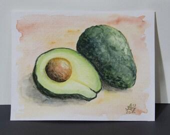Original Aquarell Avocados - 10x15 cm