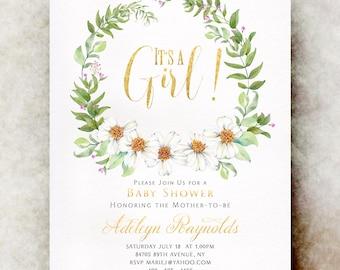 Gold Baby shower invitation girl printable, baby shower invitation girl, unique baby shower invitations, baby girl shower invitation