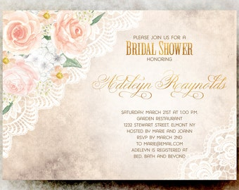 Lace Bridal shower Invitation - Rustic bridal shower invitation printable, wedding shower invitation, floral bridal shower invitation