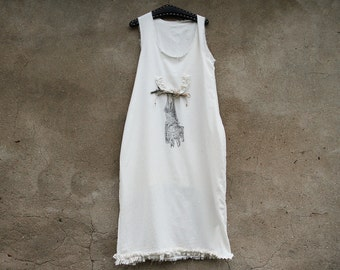 Long white ivory dress,beach dress,100% cotton, Ivory dress with hand printed bat,one and only design,one of kind,cotton dsigned bat dress,