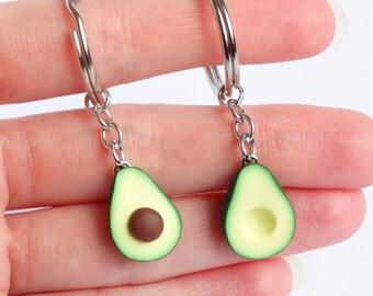 Cute green avocado friendship bff keychain set asymmetric bff avocado gift friendship present girlfriend boyfriend avocado gift
