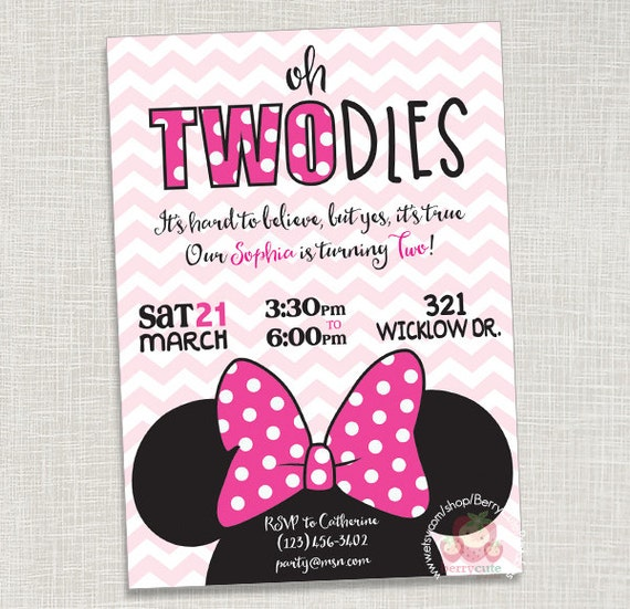Minnie Mouse Birthday Invitation Two Year Old Can be