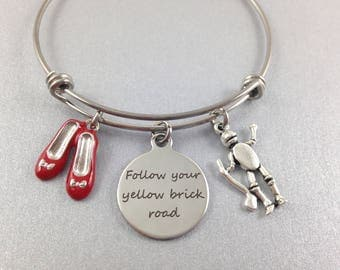 Follow Your Yellow Brick Road Bracelet, Oz Themed Bracelet, Ruby Red Slippers, Tin Man Charm, Stainless Steel Bangle