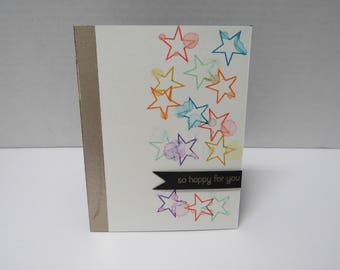 Handmade greeting card - So happy for you - Rainbow stars - Watercolor - Silver metallic - Congratulations card
