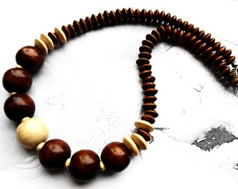 Wooden Statement Brown White Beaded Necklace, Wood Geometric Eco Friendly Chunky Trending Jewellery Retro Vintage Chic Style Jewelry