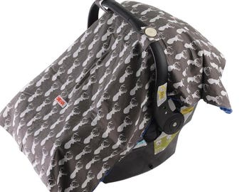 Baby Car Seat Cover For Boys By Danha – Carseat Canopy – Gray Color With Deer Head Pattern, Nursing Cover, Blanket And Changing Pad