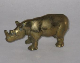 Vintage brass rhinoceros figurine patina small