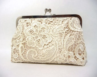 Champagne Lace Bridal Clutch, Satin Bridal Purse, Ivory Lace Bridesmaid Clutch Eight inch Frame,