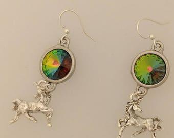 Fairy Tale Earrings - Magical Unicorns - Stainless Steel Ear Wires - Swarovski Vitrail Rivolis