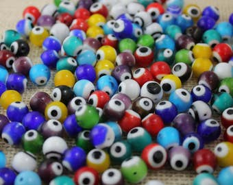 Multi Color Glass 8mm Round Evil Eye Beads (24 Pieces)