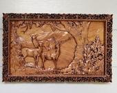 Elk Wood Carving ~ Rustic...
