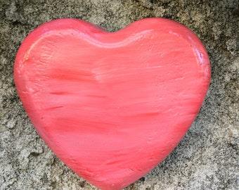 Handcrafted red/pink heart wall hanging/ Indoor/outdoor/patio/home/planter/paperweight/memorial garden/Valentine's Day/child room/wedding