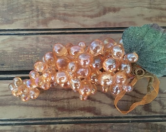 Vintage Mid Century Amber Lucite Grapes