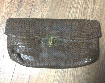 Vintage Snake Skin Clutch, Antique Snake skin purse, 30s or 40s brown handbag, Snake skin bag
