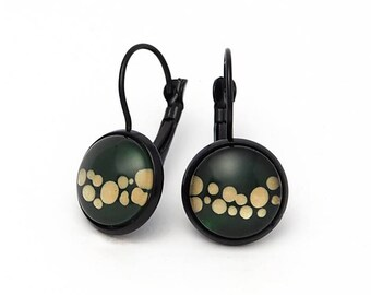Wave of Gold - Black French Lever Earrings - handmade handpainted green gold