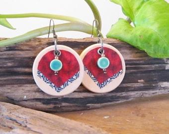 Earring, wooden ear hook with red knitting pattern, bohemian