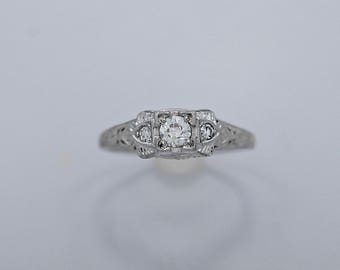 Antique .25ct. Diamond Engagement Ring 18k White Gold Art Deco - J36355