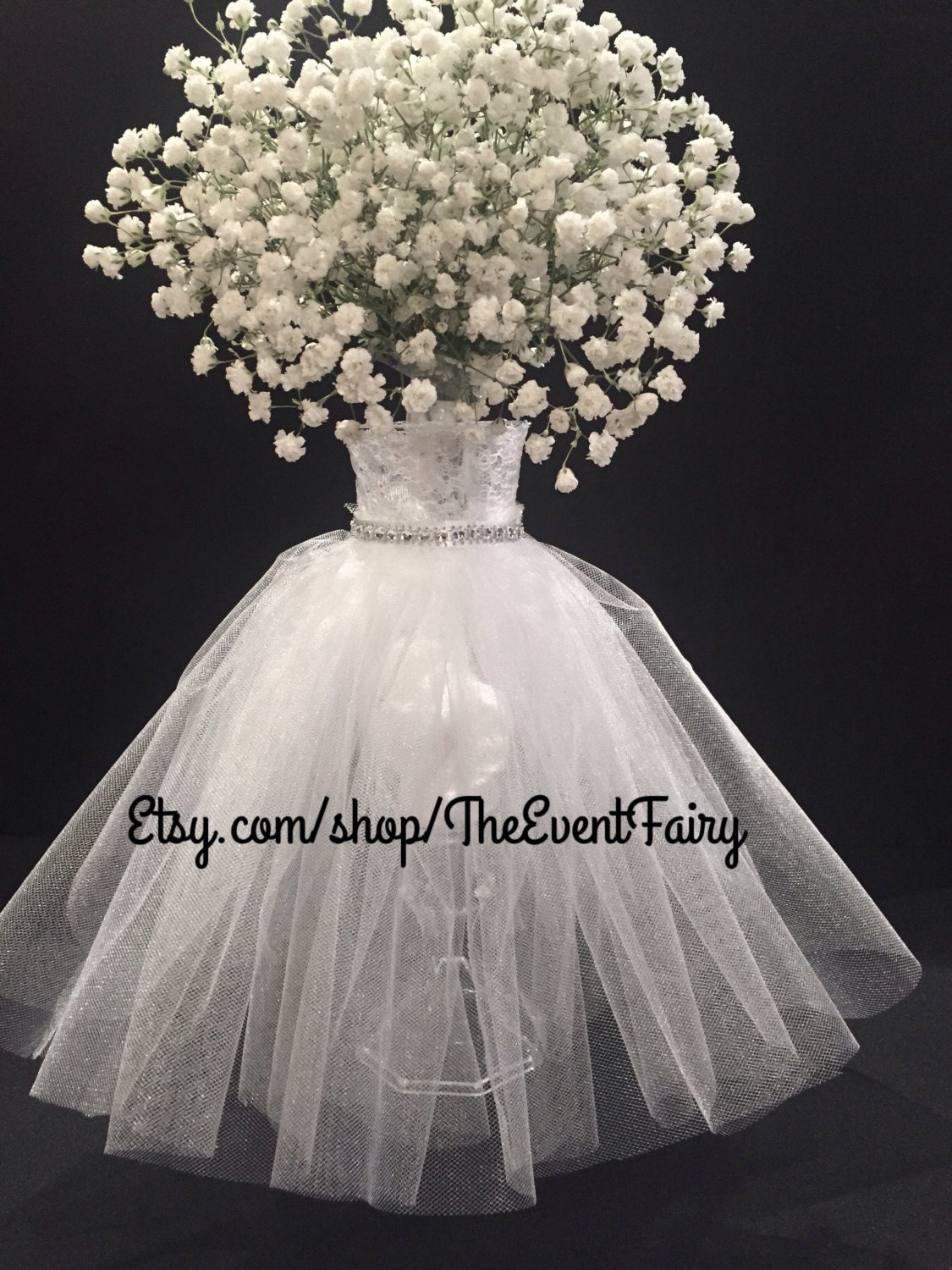 Centerpiece wedding dress vase for Wedding dress vase centerpiece