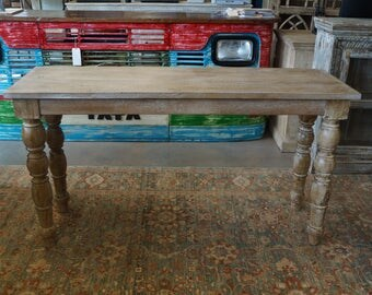 Solid Wood Console Table With Turned Legs