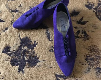 80's purple suade heels with front buttons size 8