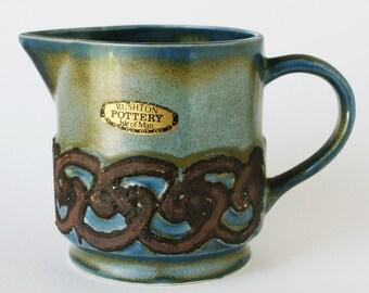 Rushton Pottery Jug - Celtic Design Pottery - Isle of Man Pottery UK - 1980s