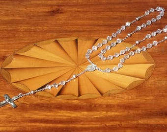 Sterling Rosary  Crystal Beads Vintage