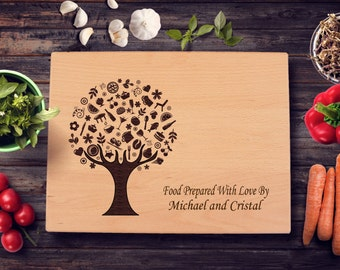 Personalized Cutting Board Kitchen Tree Wedding Present Anniversary Gift Bridal Shower Gift Hostess Gift Kitchen Art Chef Chopping Board